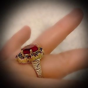 RUBY SAPPHIRE RING Size 10.5 Solid 925 Silver/Gold